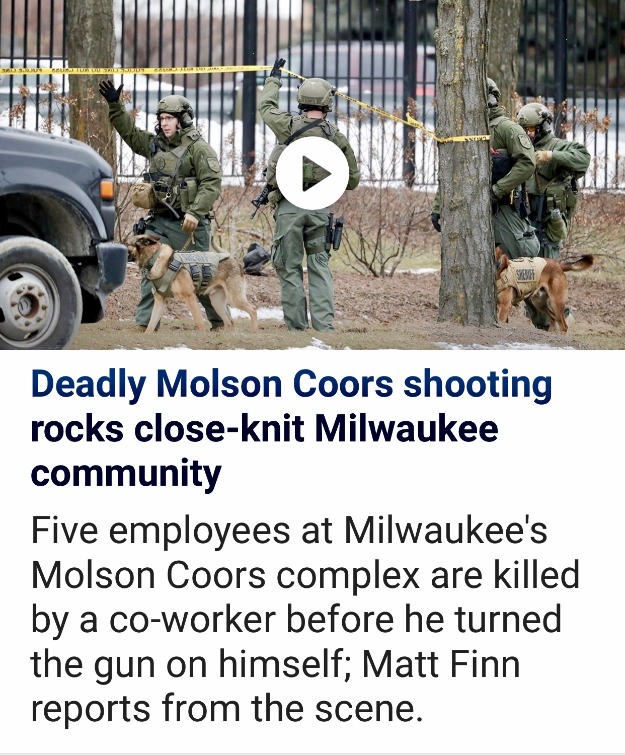 Breaking News 6 Employees Dead In Shooting At Molson Coors In Milwaukee