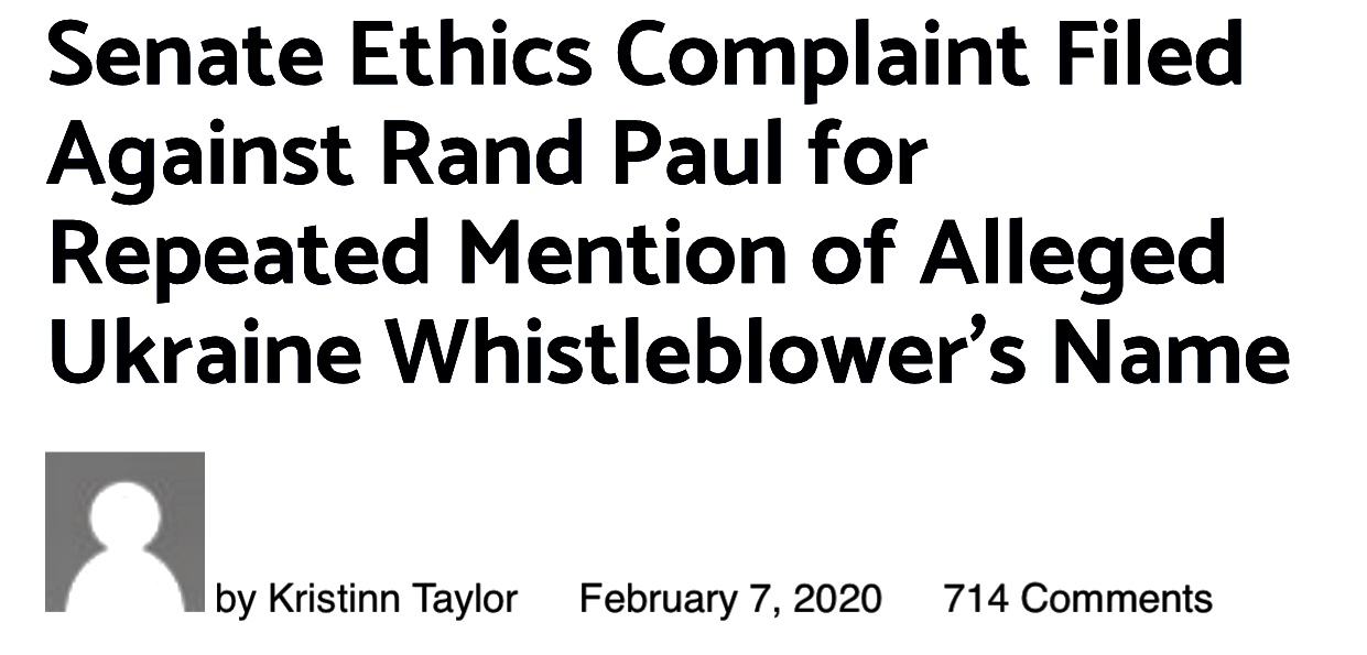 Senate Ethics Complaint Filed Against Rand Paul for Repeated Mention of Alleged Ukraine Whistleblower's Name