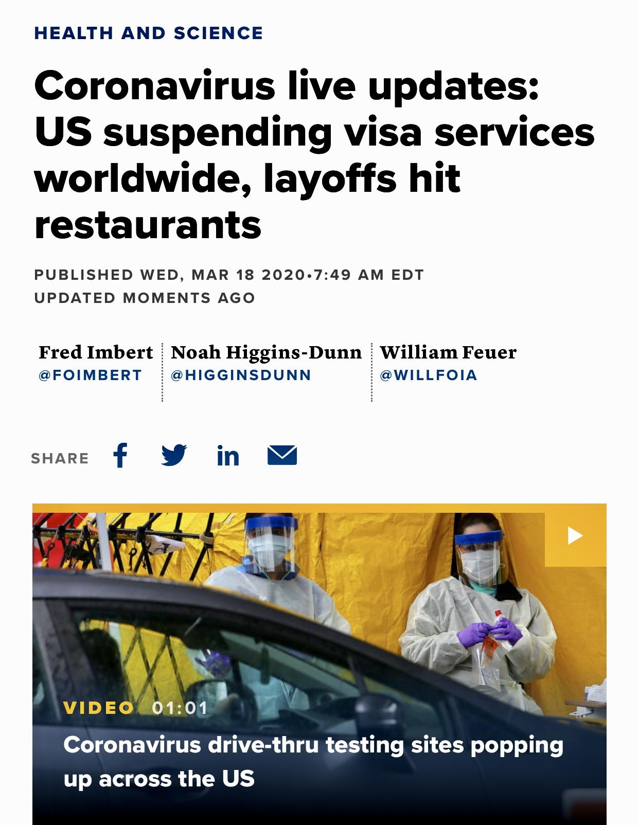 Coronavirus Live Updates: US Suspending visa Services Worldwide, Layoffs Hit Restaurants