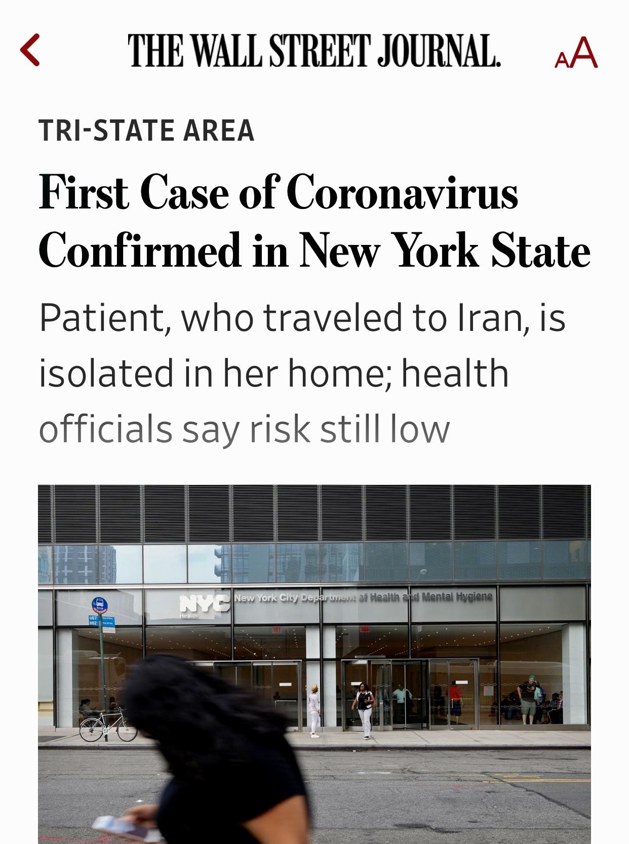 NY's Coronavirus First Case – Woman Travelled to Iran