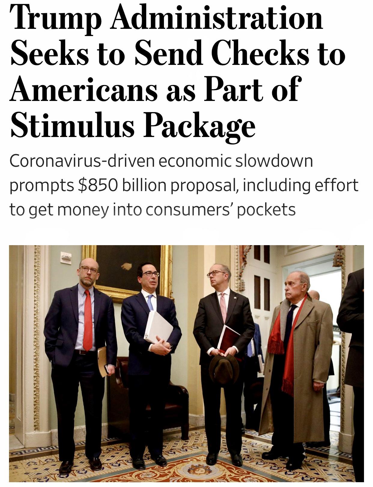 WH $850 Billion Stimulus Proposal to Send Checks to Americans