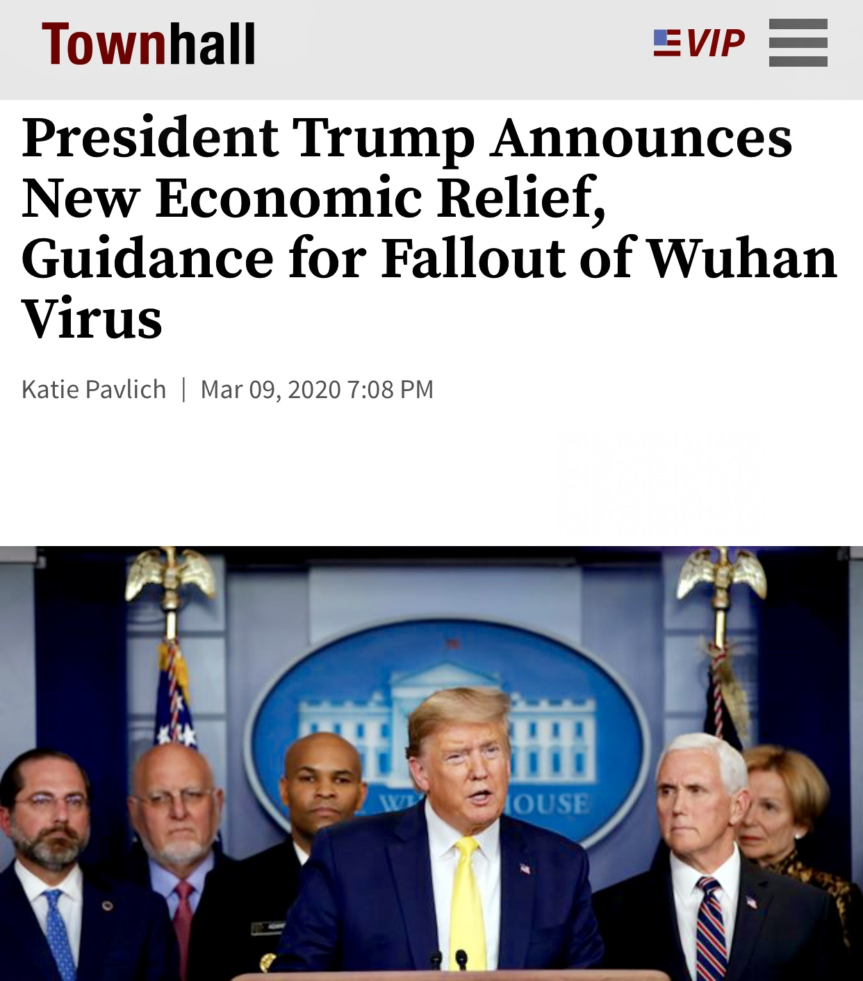 President Trump Announces New Economic Relief for the Fallout of Wuhan Virus