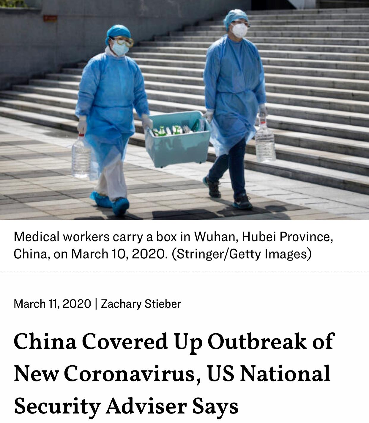 US National Security Adviser Says China Covered Up Outbreak of Coronavirus