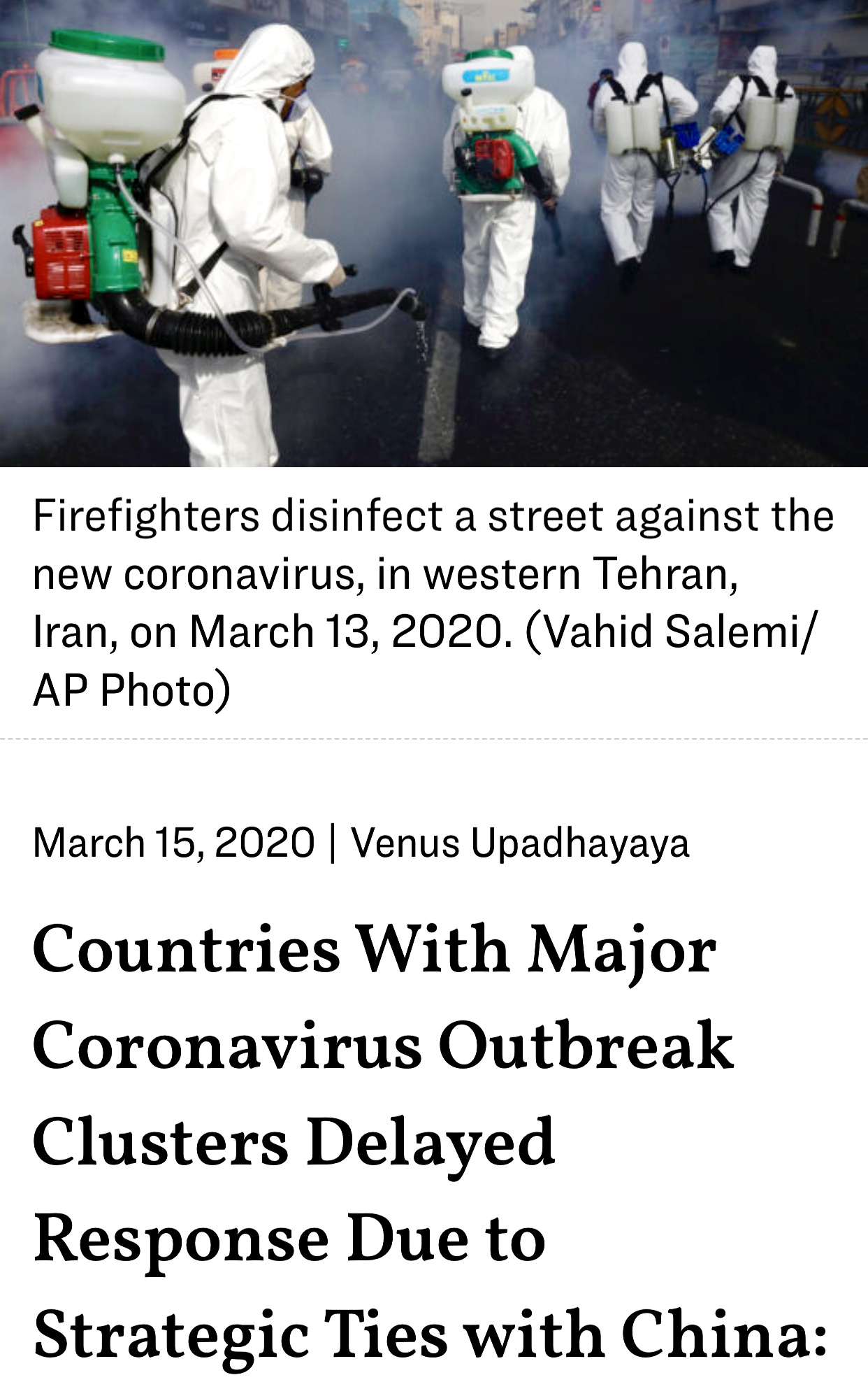 Countries With Major Coronavirus Outbreak Clusters Delayed Response Due to Strategic Ties with China