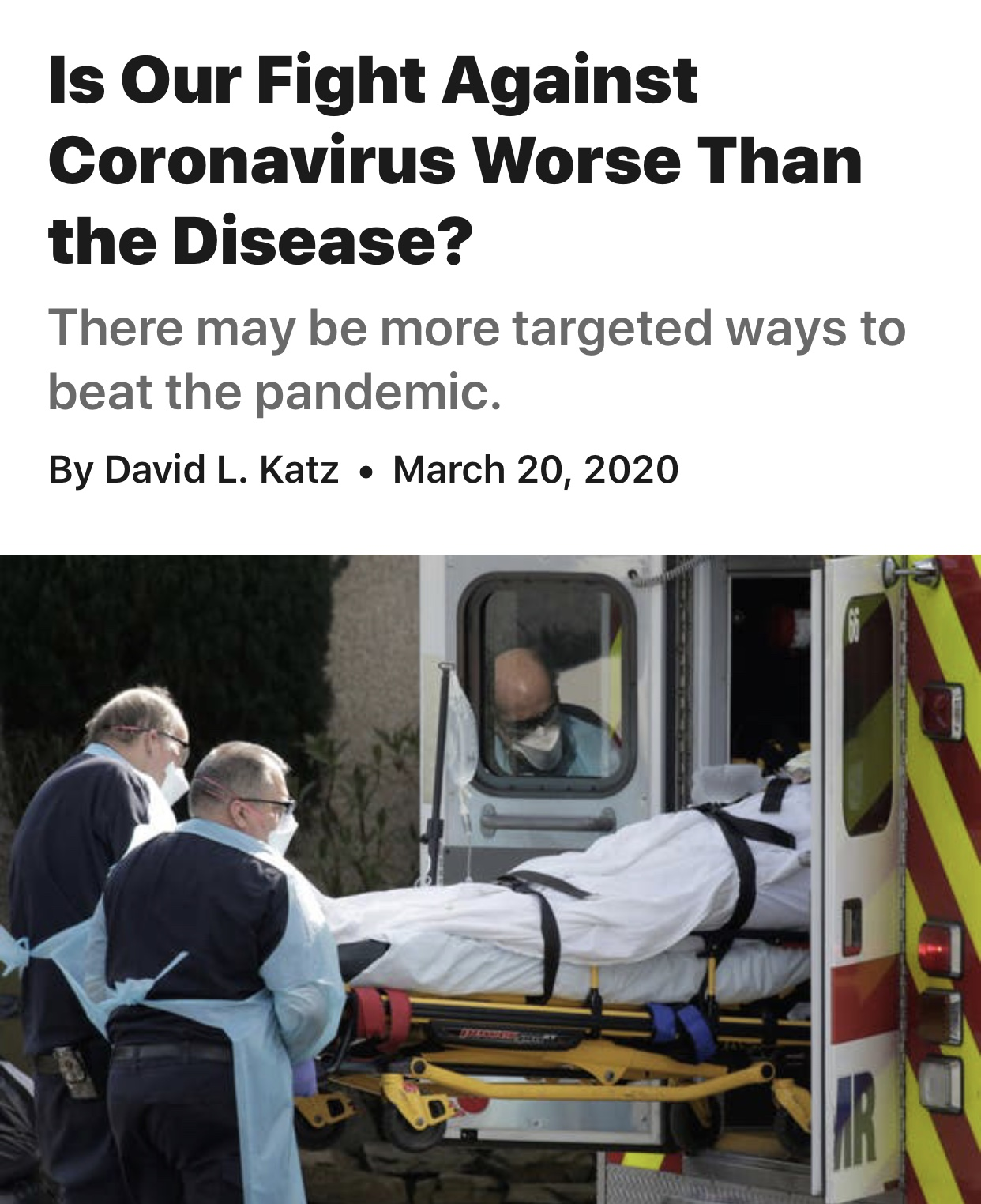 Opinion | Is Our Fight Against Coronavirus Worse Than the Disease? – The New York Times