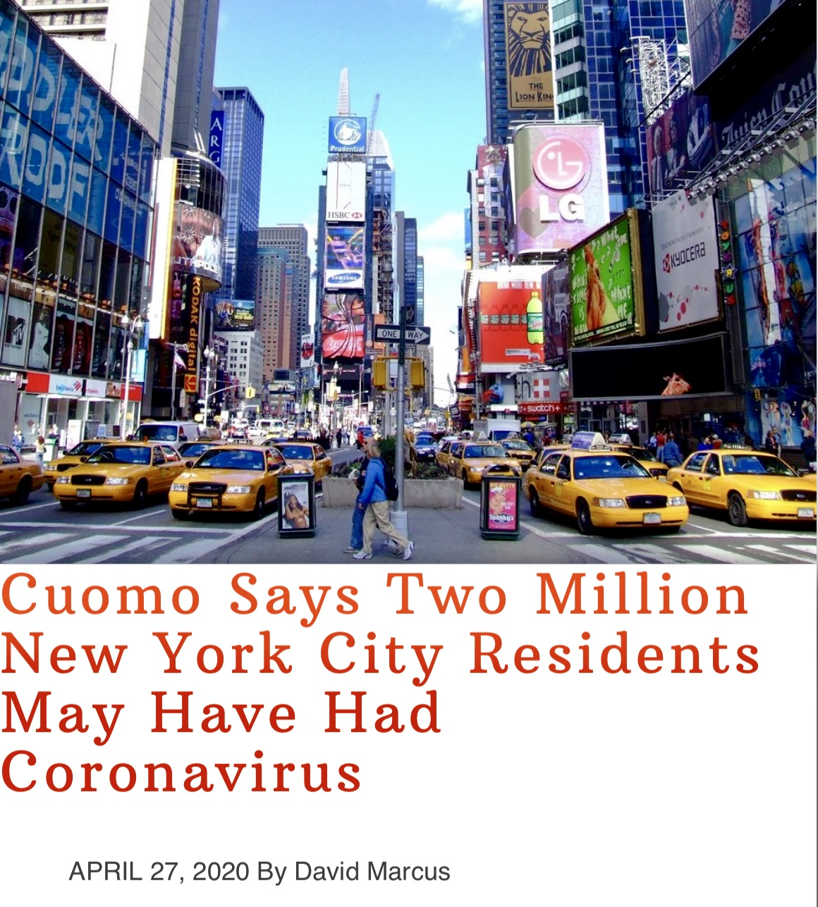 Cuomo Says Two Million New York City Residents May Have Had Coronavirus