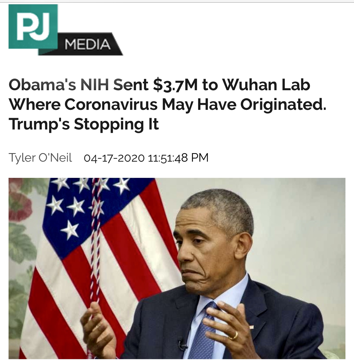 Obama's NIH Sent $3.7M to Wuhan Lab