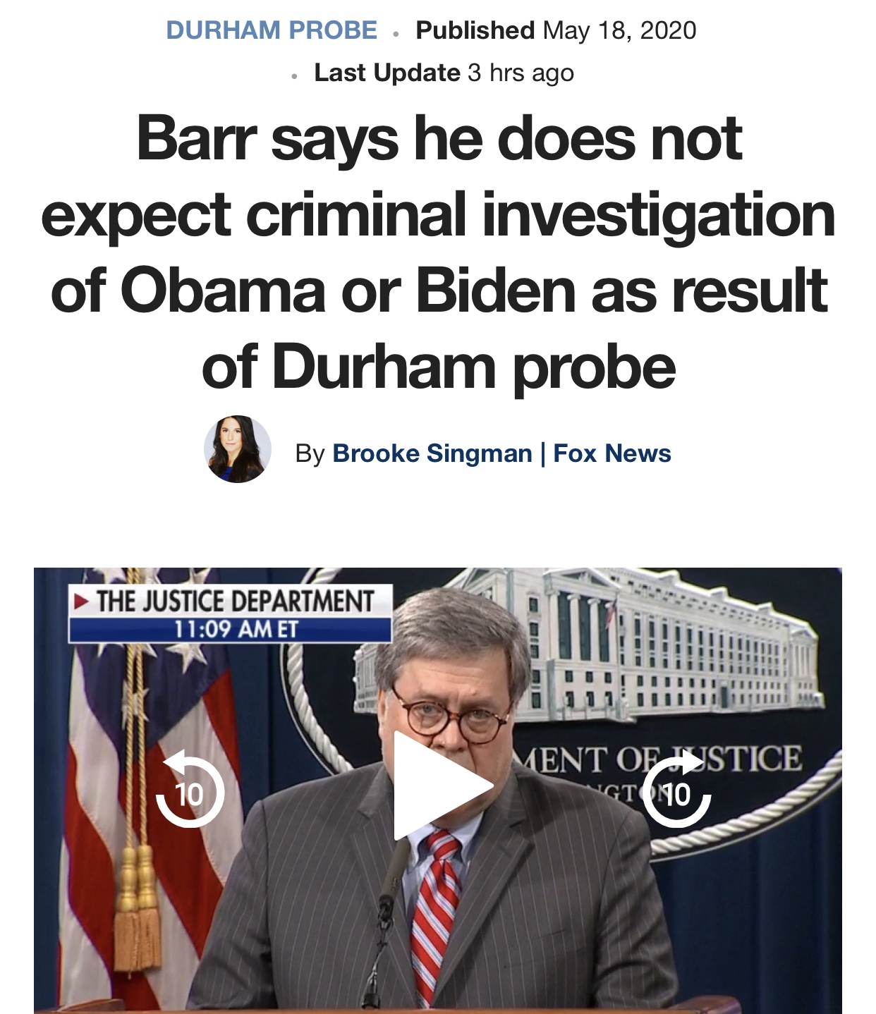 AG Barr says he does not expect criminal investigation of Obama or Biden as result of Durham probe