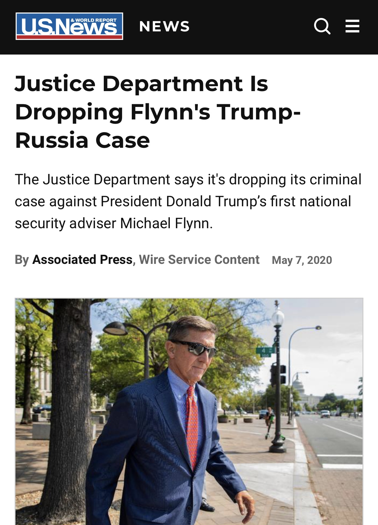 Breaking News Justice Dept Dropping Flynn's Criminal Case