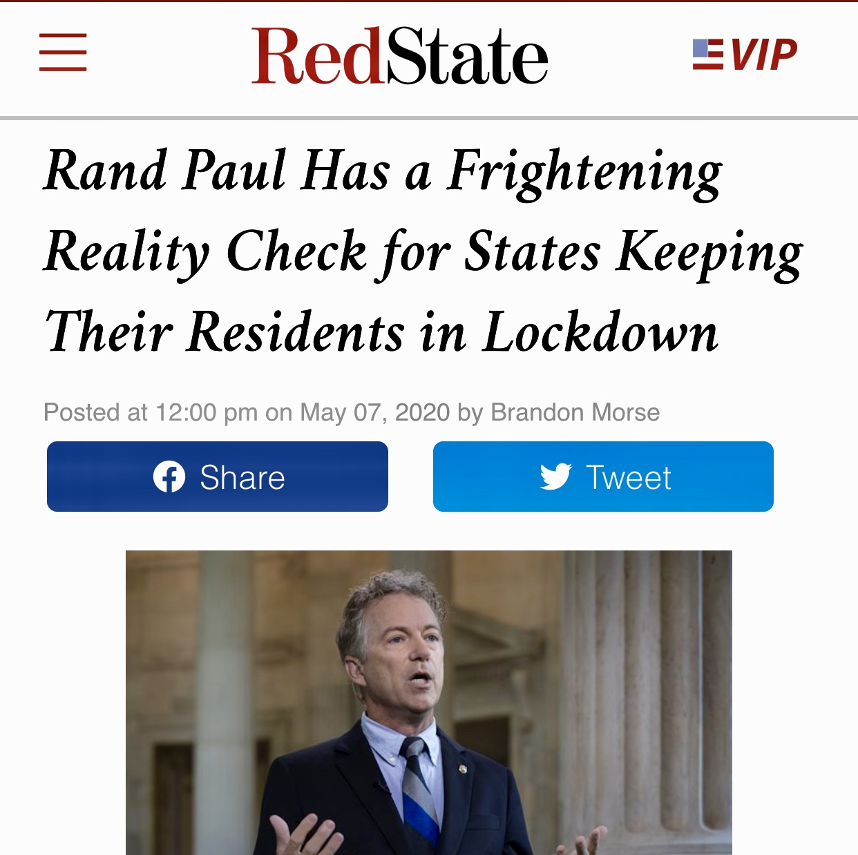 Rand Paul Has a Frightening Reality Check for States Keeping Their Residents in Lockdown