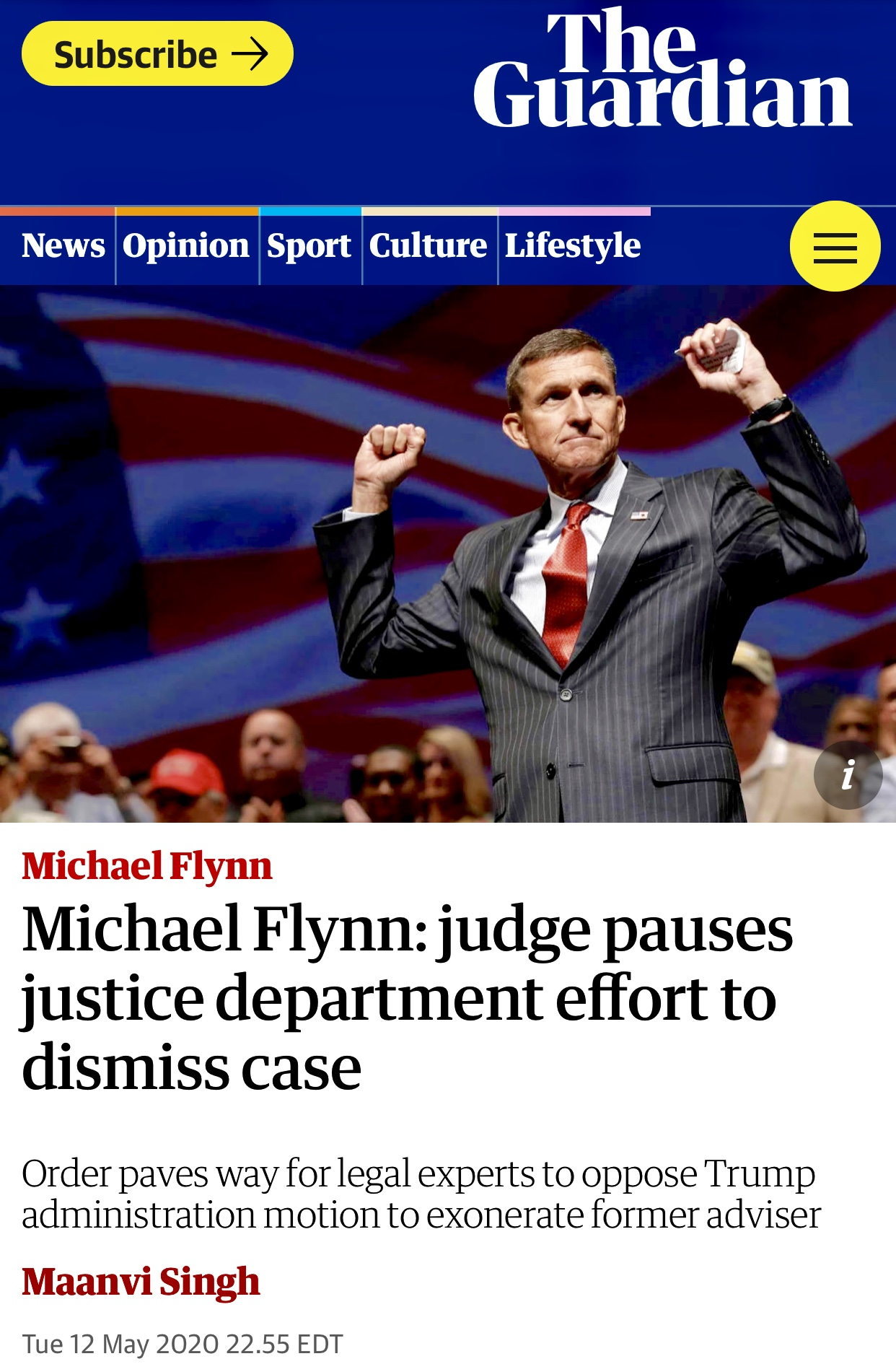 Michael Flynn: judge pauses justice department effort to dismiss case | Michael Flynn | The Guardian
