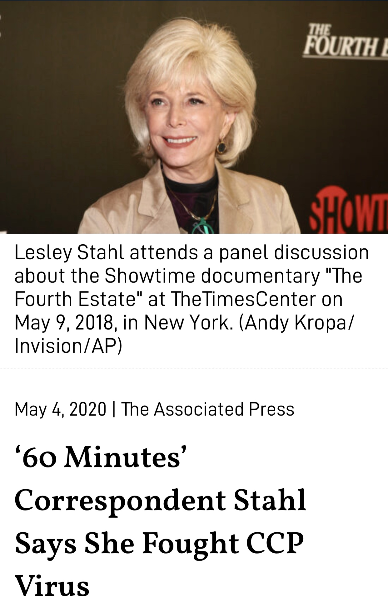'60 Minutes' Correspondent Lesley Stahl Says She Fought CCP Virus