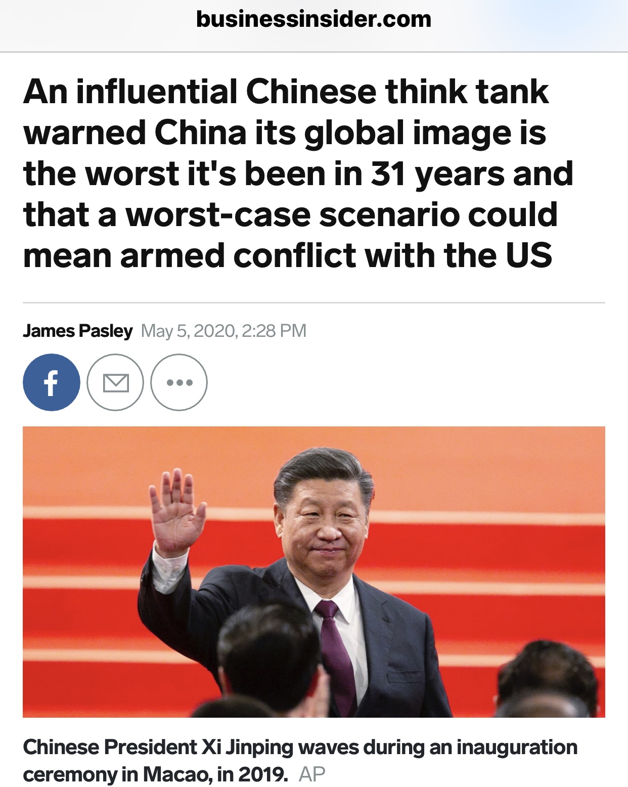 Chinese Think Tank Warned China's Global Image The Worst in 31 Years and Could Mean Armed Conflict With US