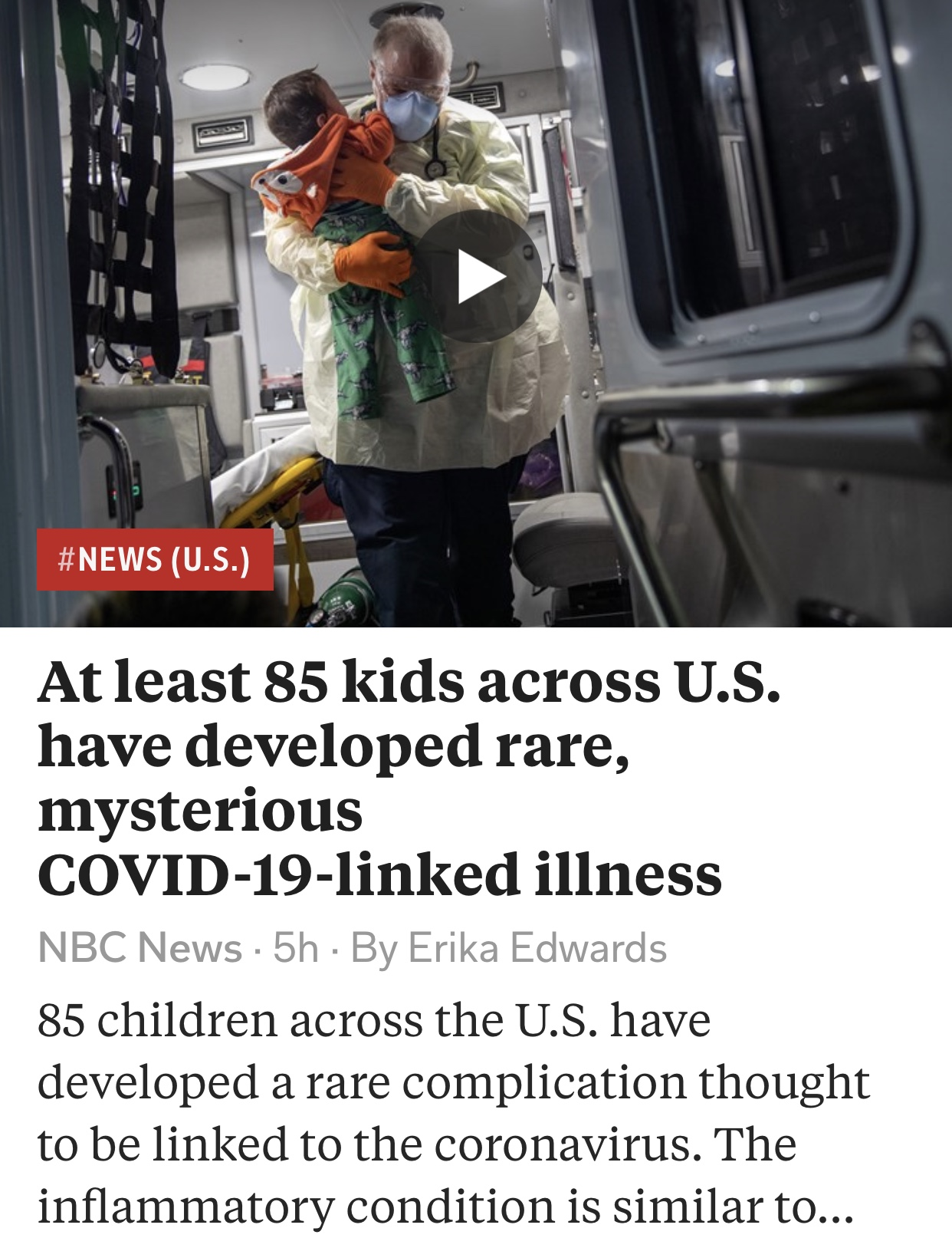 At least 85 kids across U.S. have developed rare, mysterious COVID-19-linked illness