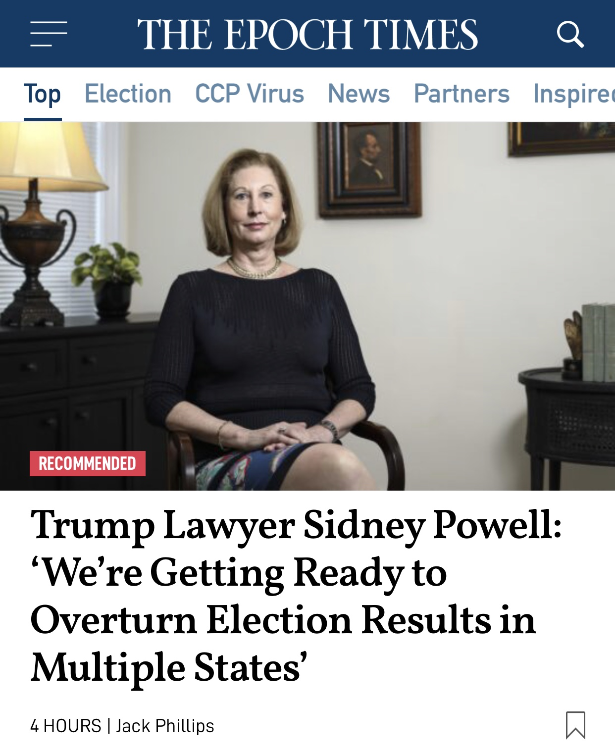 Trump Lawyer Sidney Powell: 'We're Getting Ready to Overturn Election Results in Multiple States'