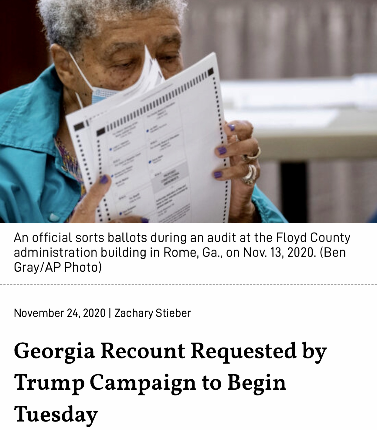 Georgia Recount Requested by Trump Campaign to Begin Tuesday