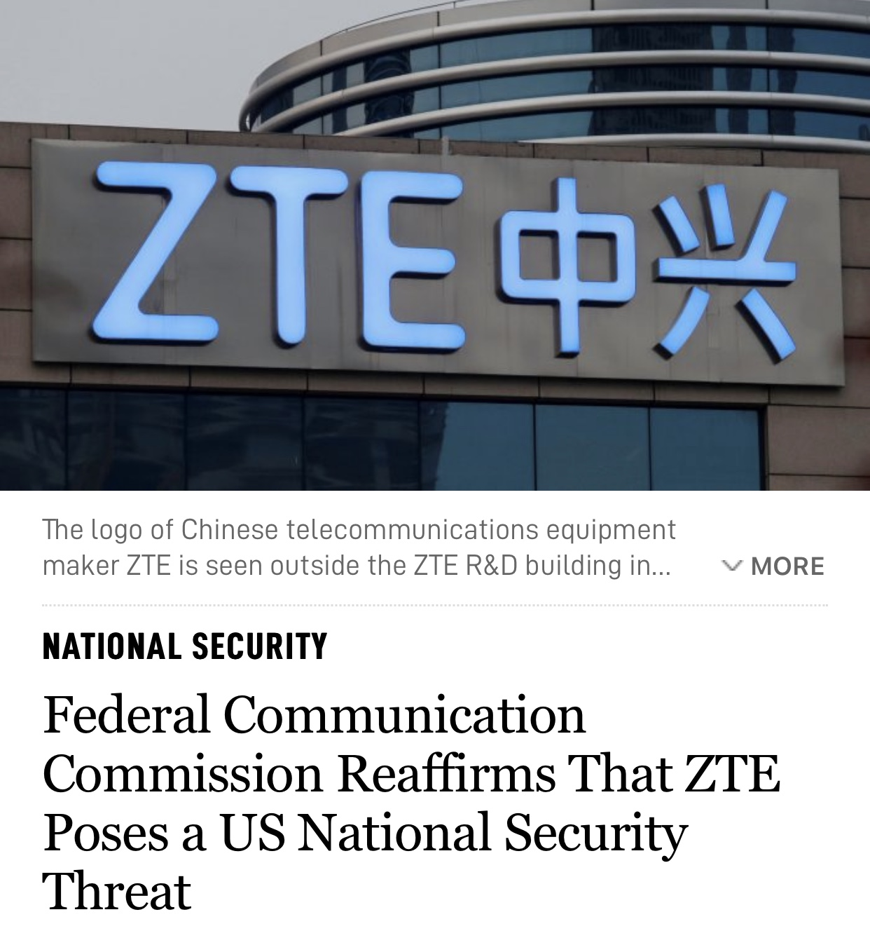 NATIONAL SECURITY Federal Communication Commission Reaffirms That ZTE Poses a US National Security Threat