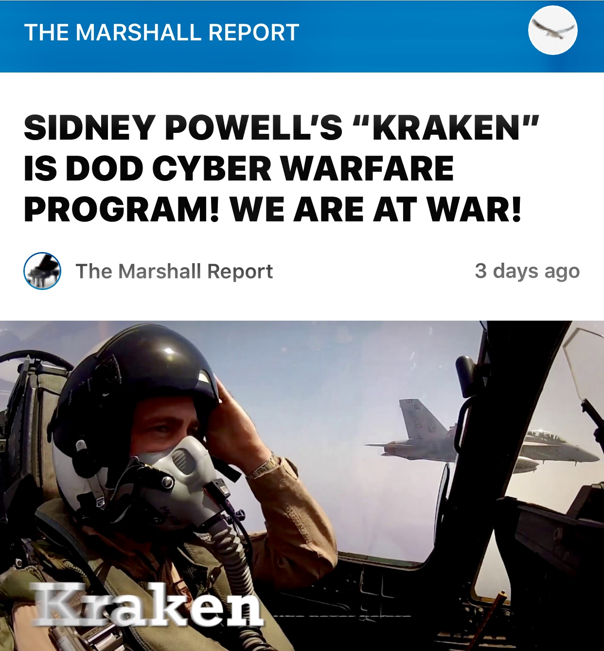 "SIDNEY POWELL'S ""KRAKEN"" IS DOD CYBER WARFARE PROGRAM! WE ARE AT WAR!"