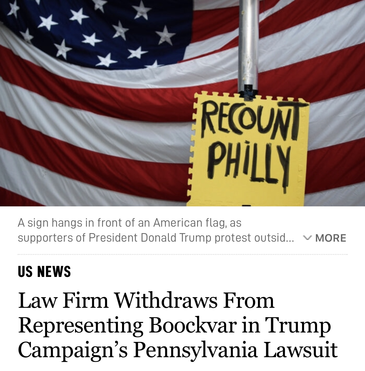 Law Firm Withdraws From Representing Boockvar in Trump Campaign's Pennsylvania Lawsuit