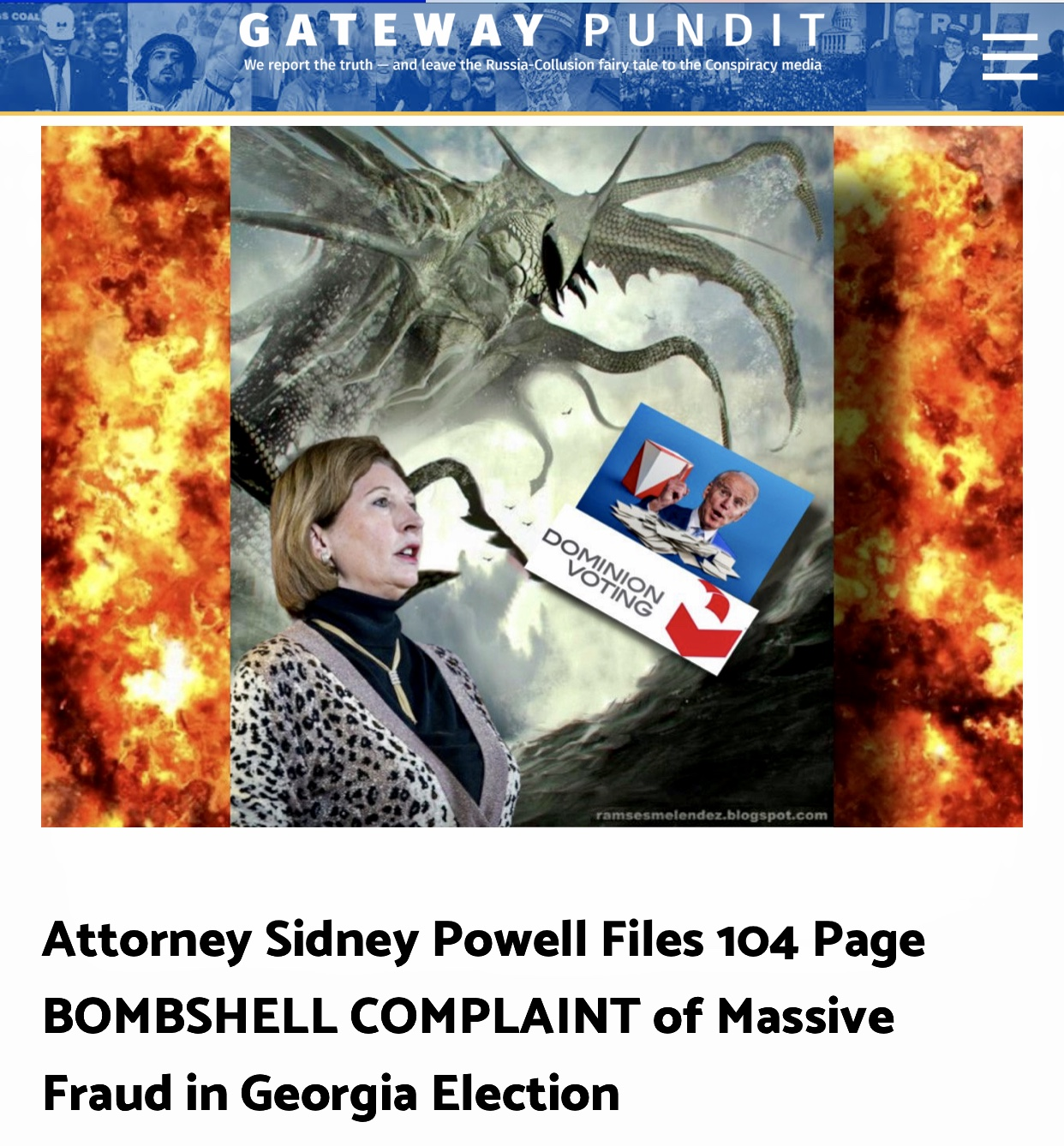 BREAKING: KRAKEN RELEASED! Attorney Sidney Powell Files 104 Page BOMBSHELL COMPLAINT of Massive Fraud in Georgia Election – Update: Michigan too