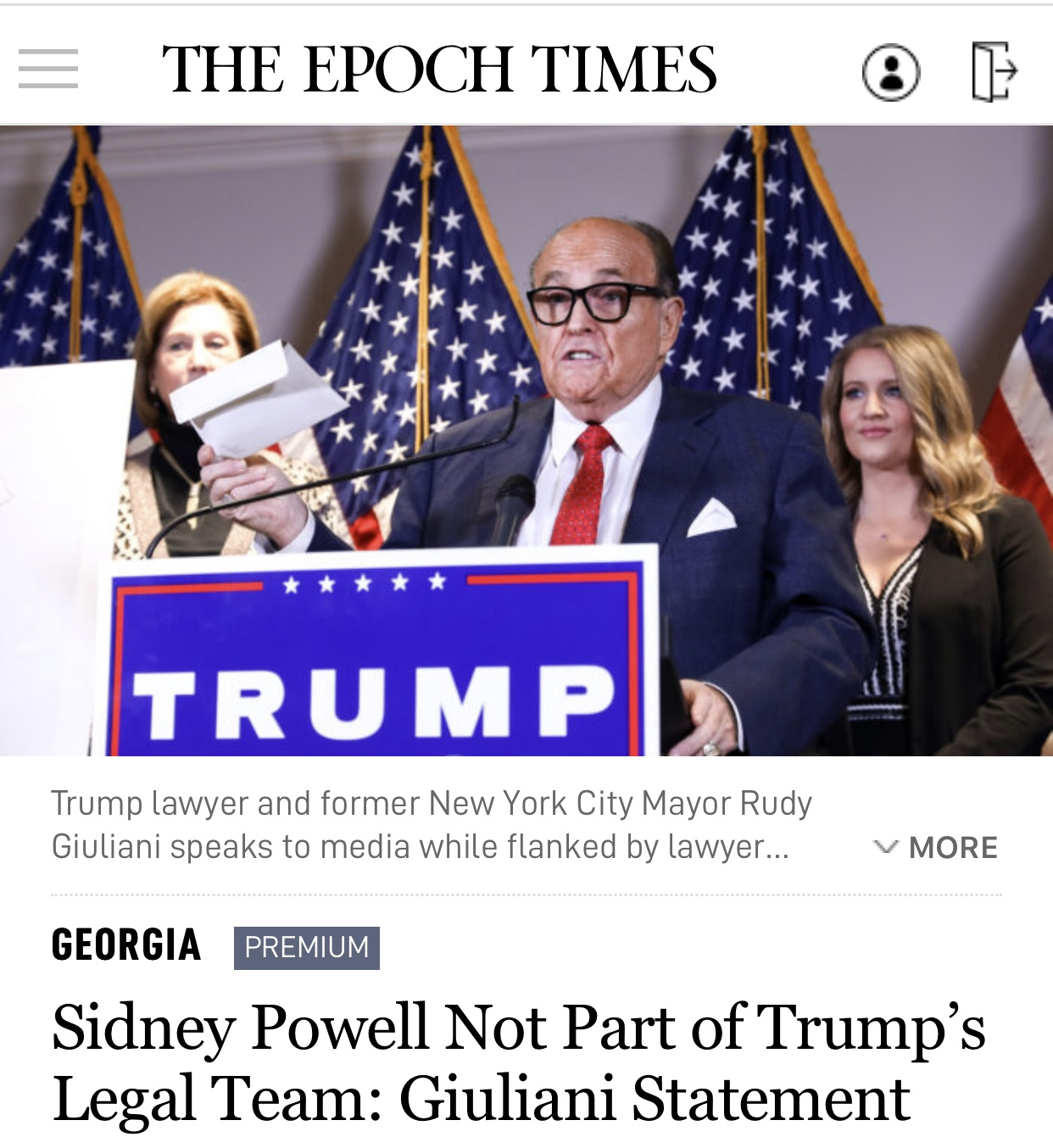 Sidney Powell Not Part of Trump's Legal Team: Giuliani Statement