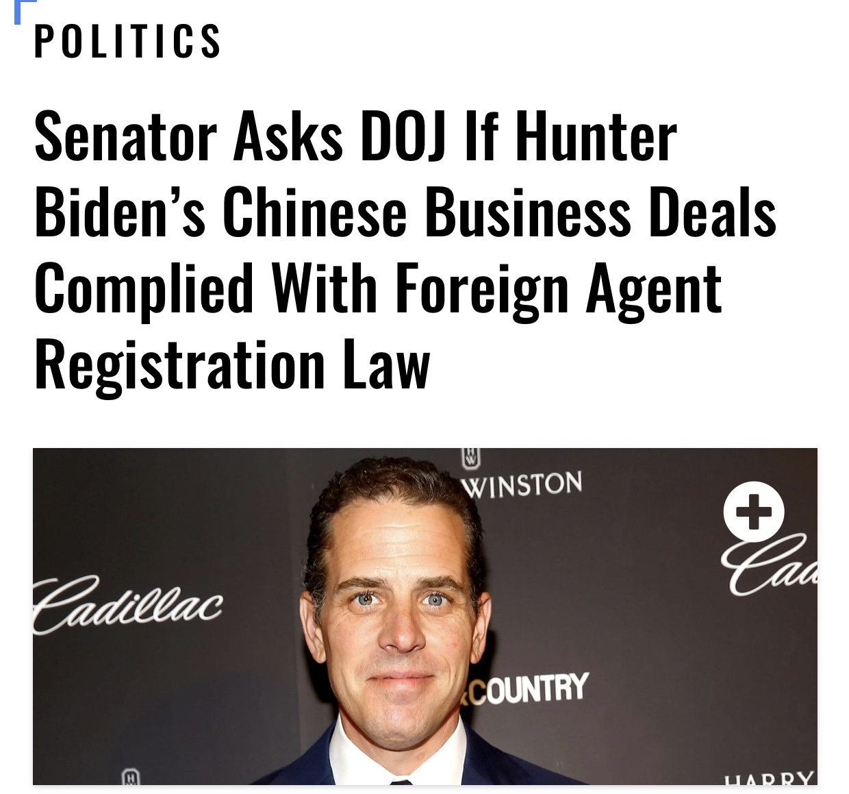 Senator Asks DOJ If Hunter Biden's Chinese Business Deals Complied With Foreign Agent Registration Law