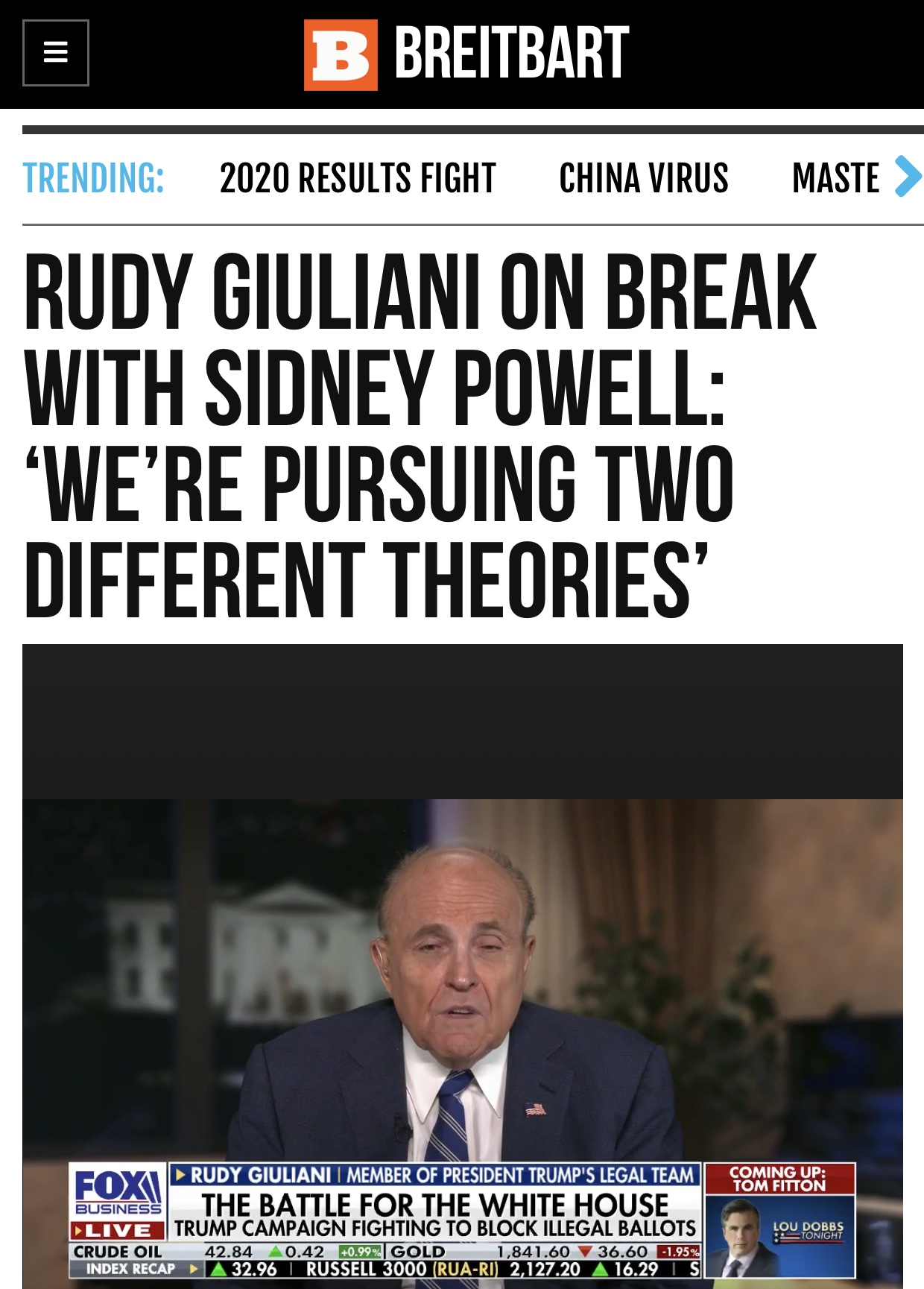 Rudy Giuliani on Break with Sidney Powell: 'We're Pursuing Two Different Theories'
