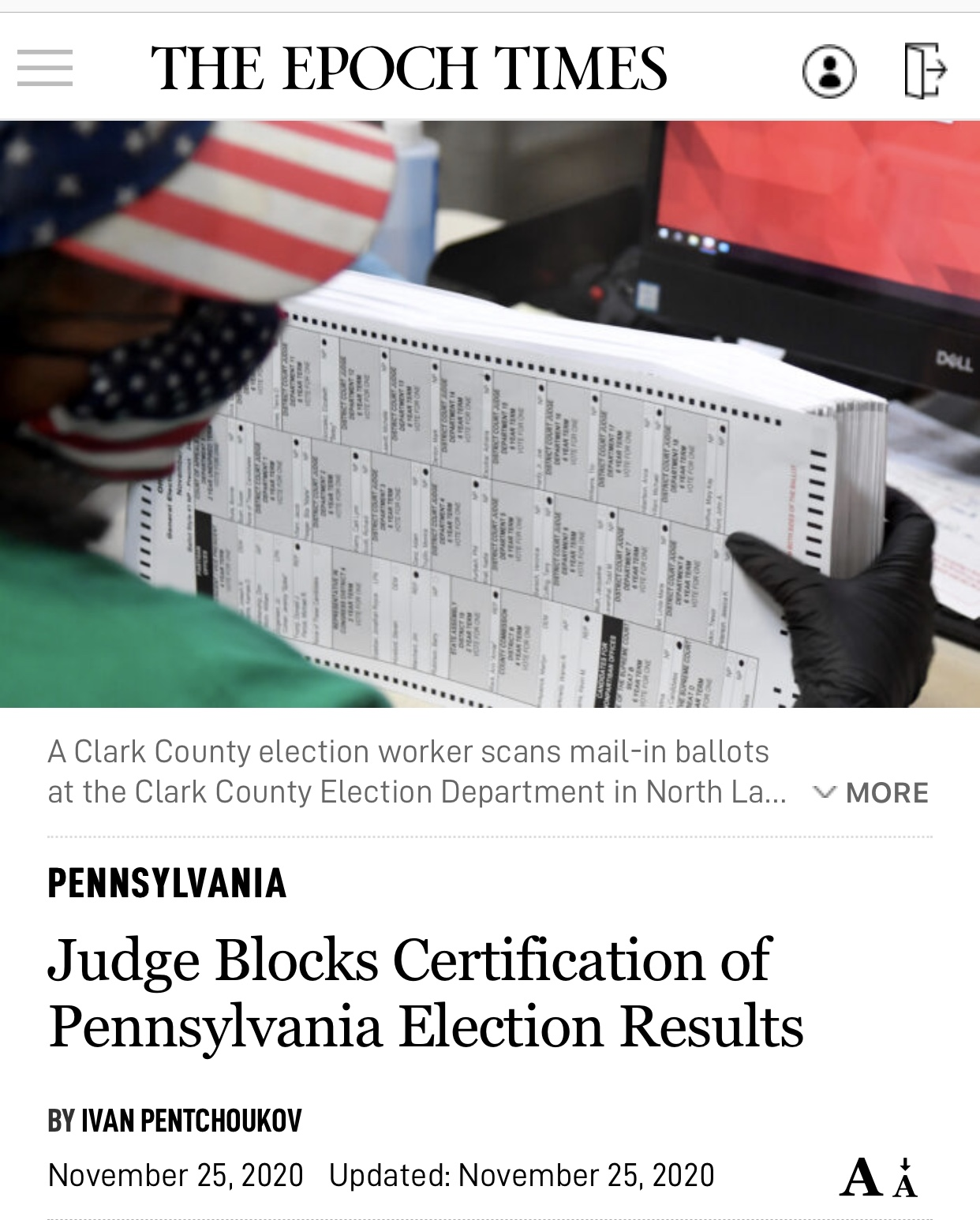 Big Breaking News PENNSYLVANIA Judge Blocks Certification of Pennsylvania Election Results