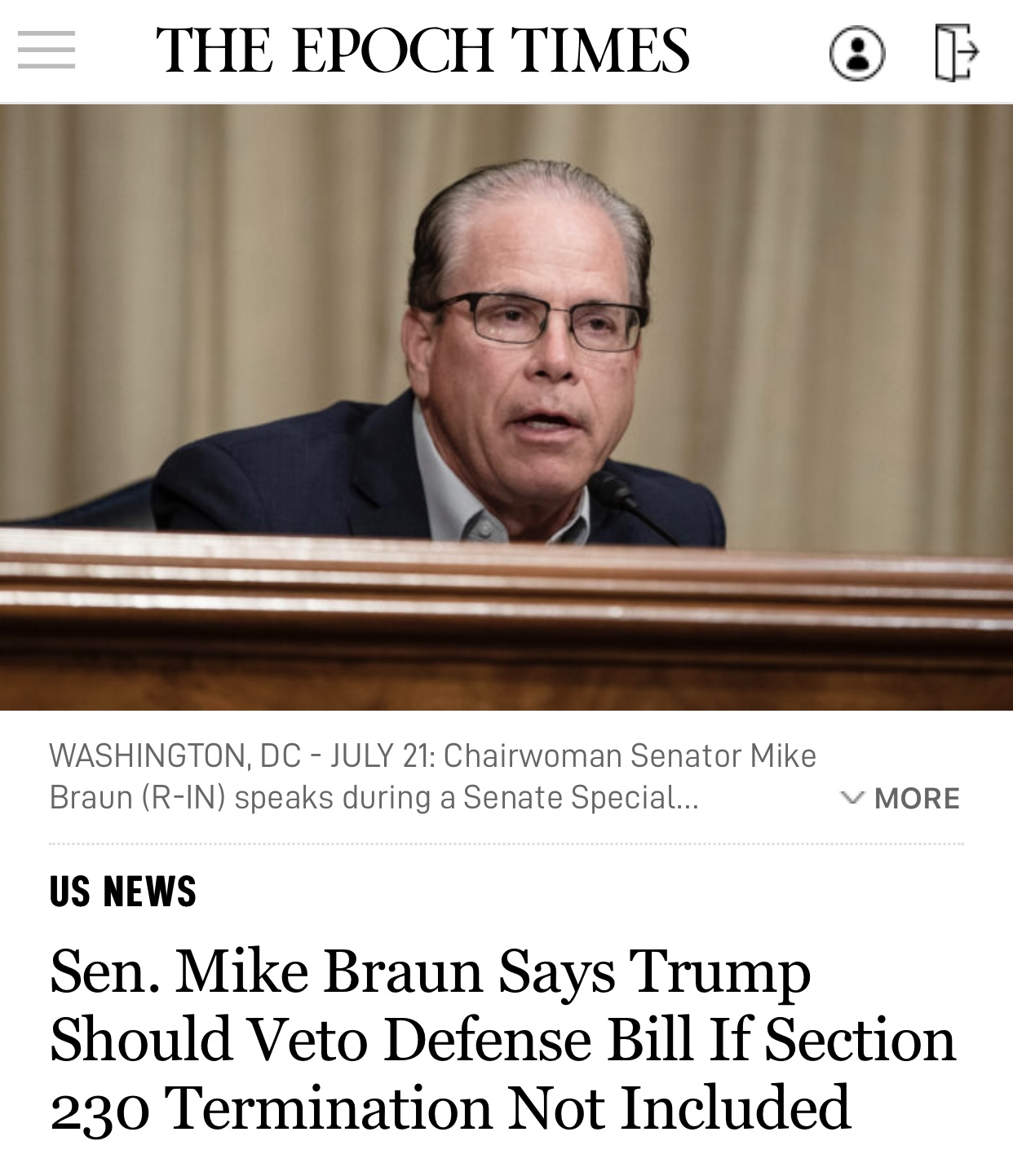Sen. Mike Braun Says Trump Should Veto Defense Bill If Section 230 Termination Not Included