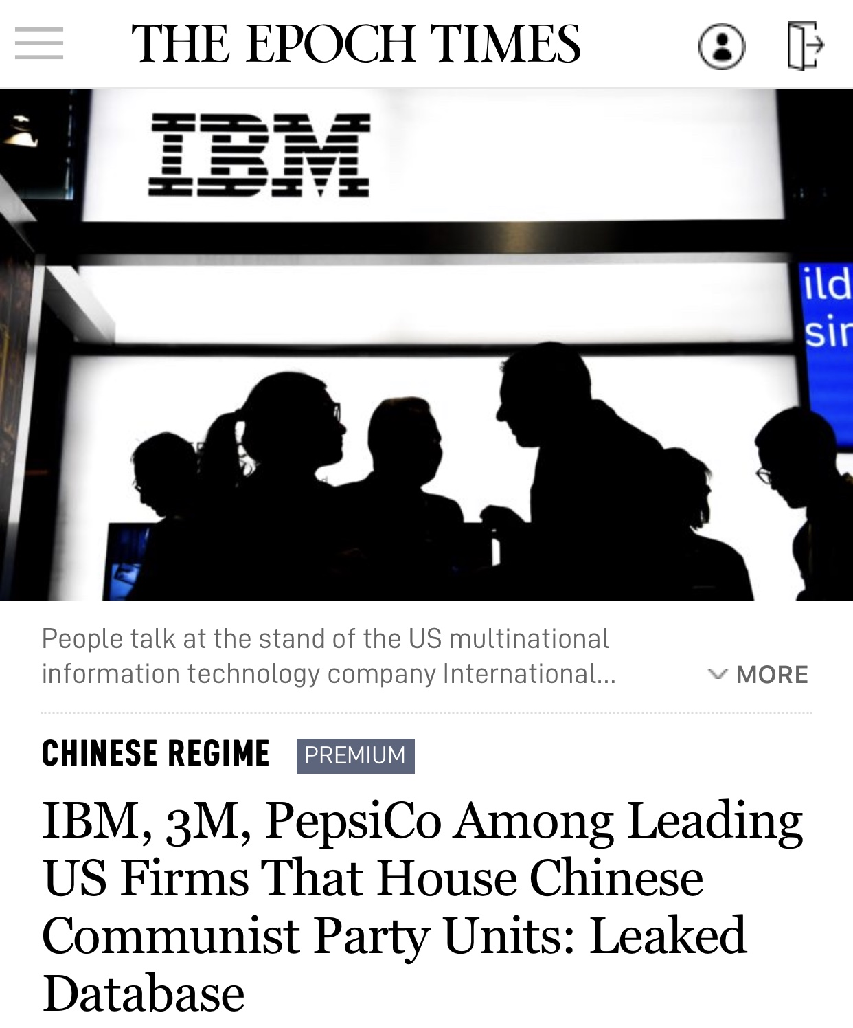 Breaking News IBM, 3M, PepsiCo Among Leading US Firms That House Chinese Communist Party Units: Leaked Database