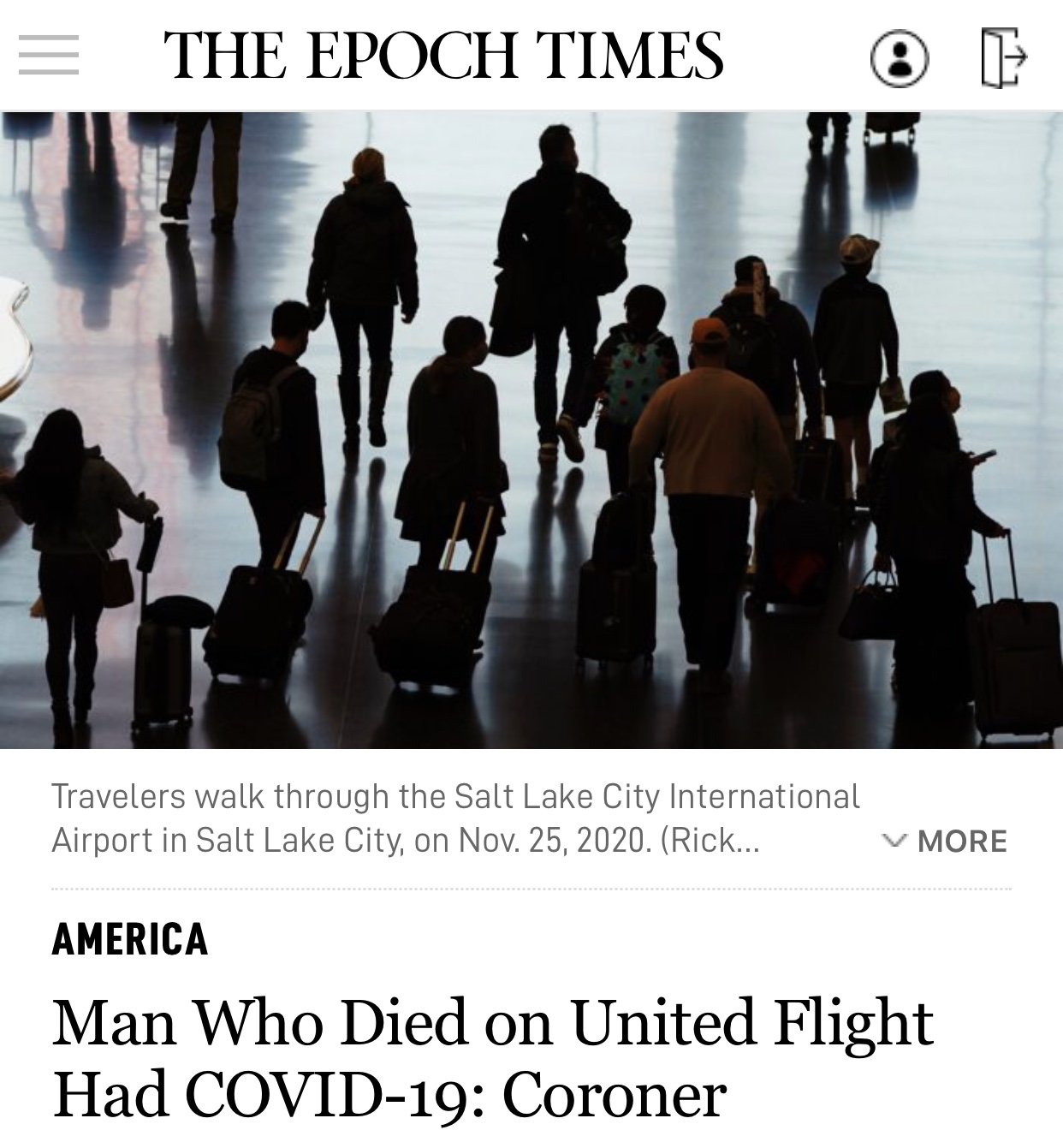 Man Dies on United Airlines Flight Who Had COVID-19