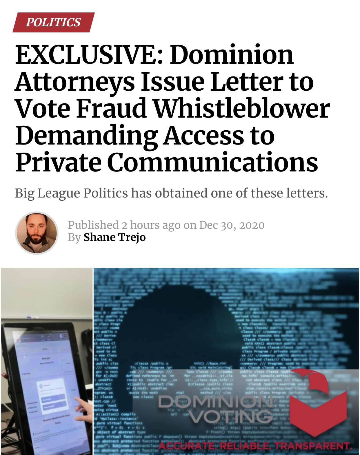 POLITICSEXCLUSIVE: Dominion Attorneys Issue Letter to Vote Fraud Whistleblower Demanding Access to Private Communications