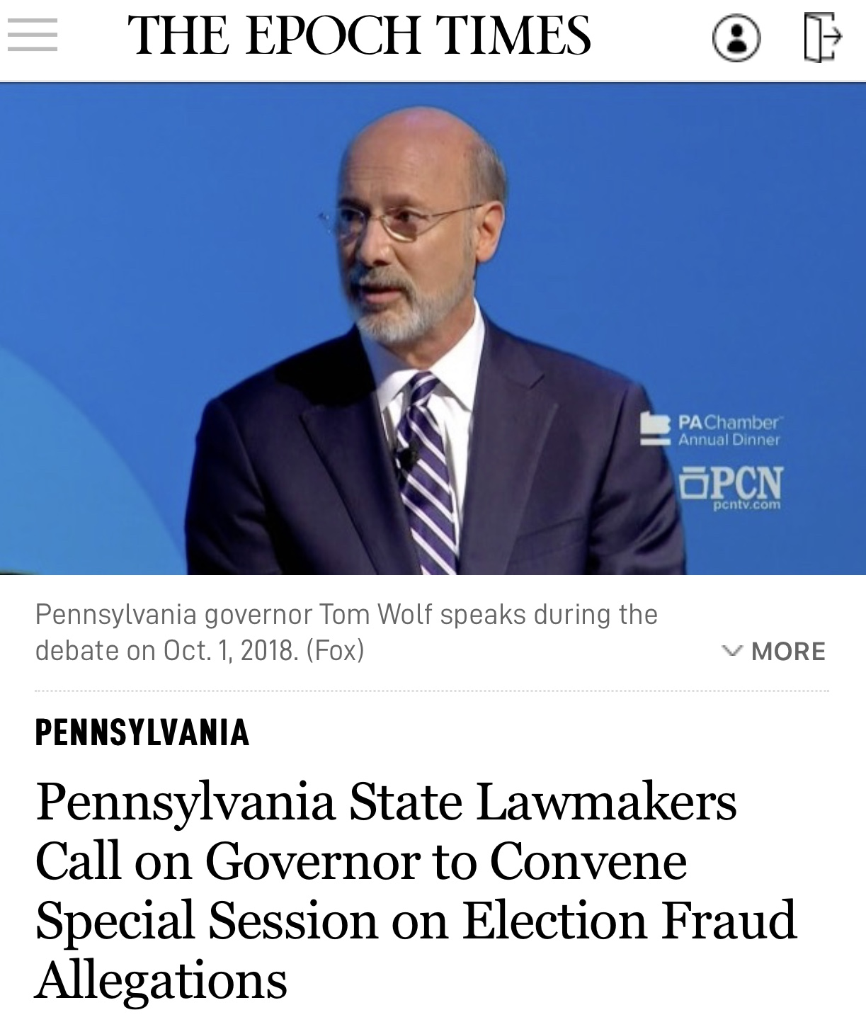 Breaking News Pennsylvania State Lawmakers Call on Governor to Convene Special Session on Election Fraud Allegations
