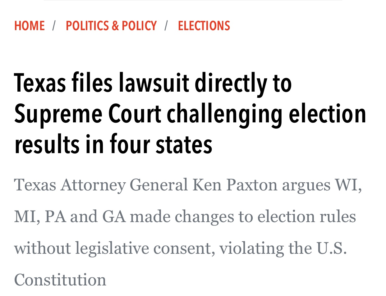 Texas files lawsuit directly to Supreme Court challenging election results in four states