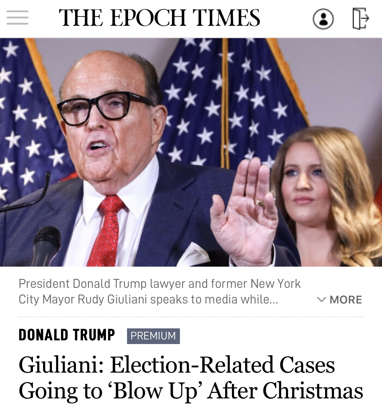 Breaking News Giuliani: Election-Related Cases Going to 'Blow Up' After Christmas