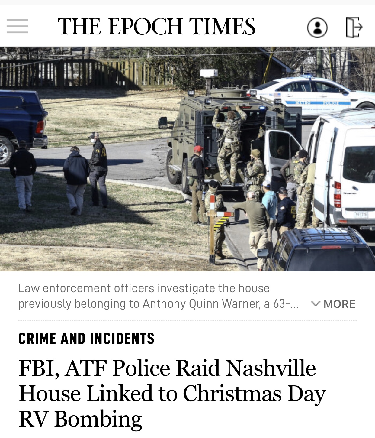 FBI, ATF Police Raid Nashville House Breaking News Linked to Christmas Day RV Bombing