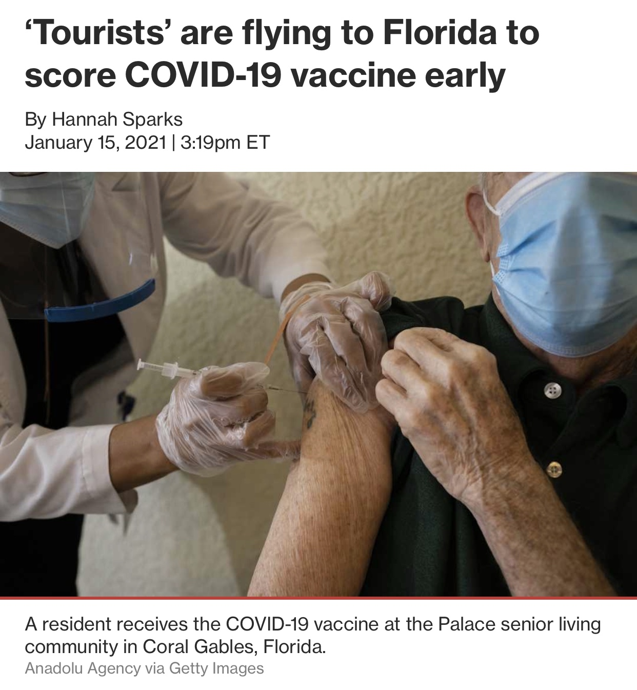 Tourists' Are Flying to Florida To Score COVID-19 Vaccine Early