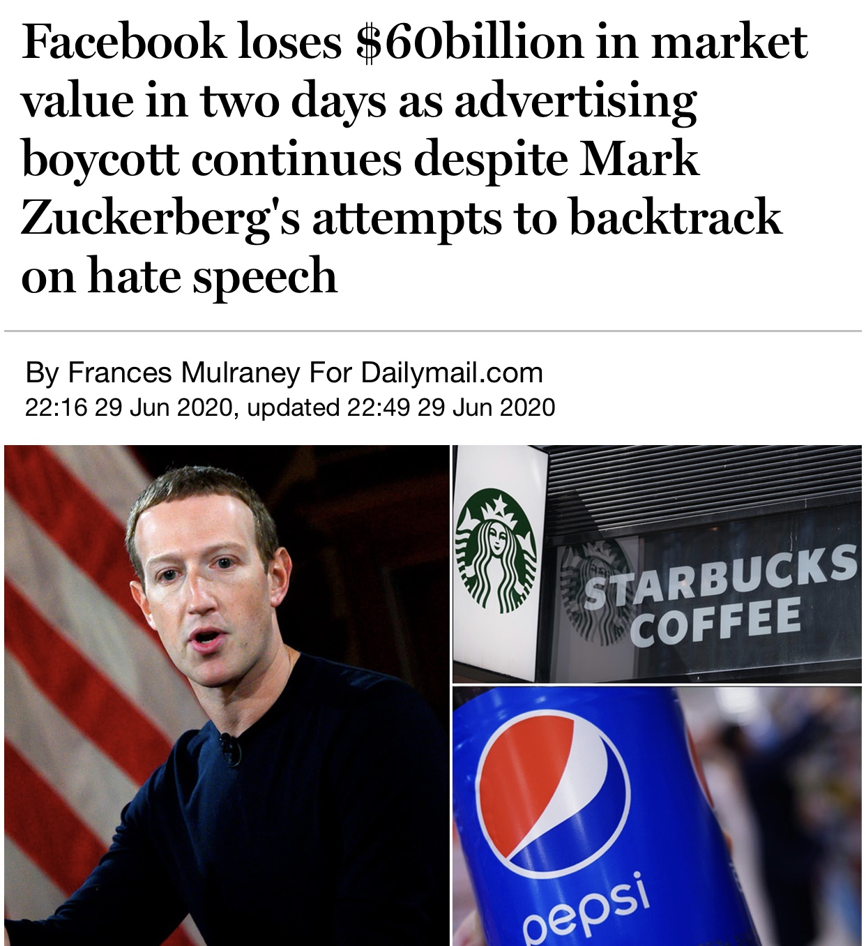 Facebook loses $60 billion in market value in two days as advertising boycott continues despite Mark Zuckerberg's attempts to backtrack on hate speech