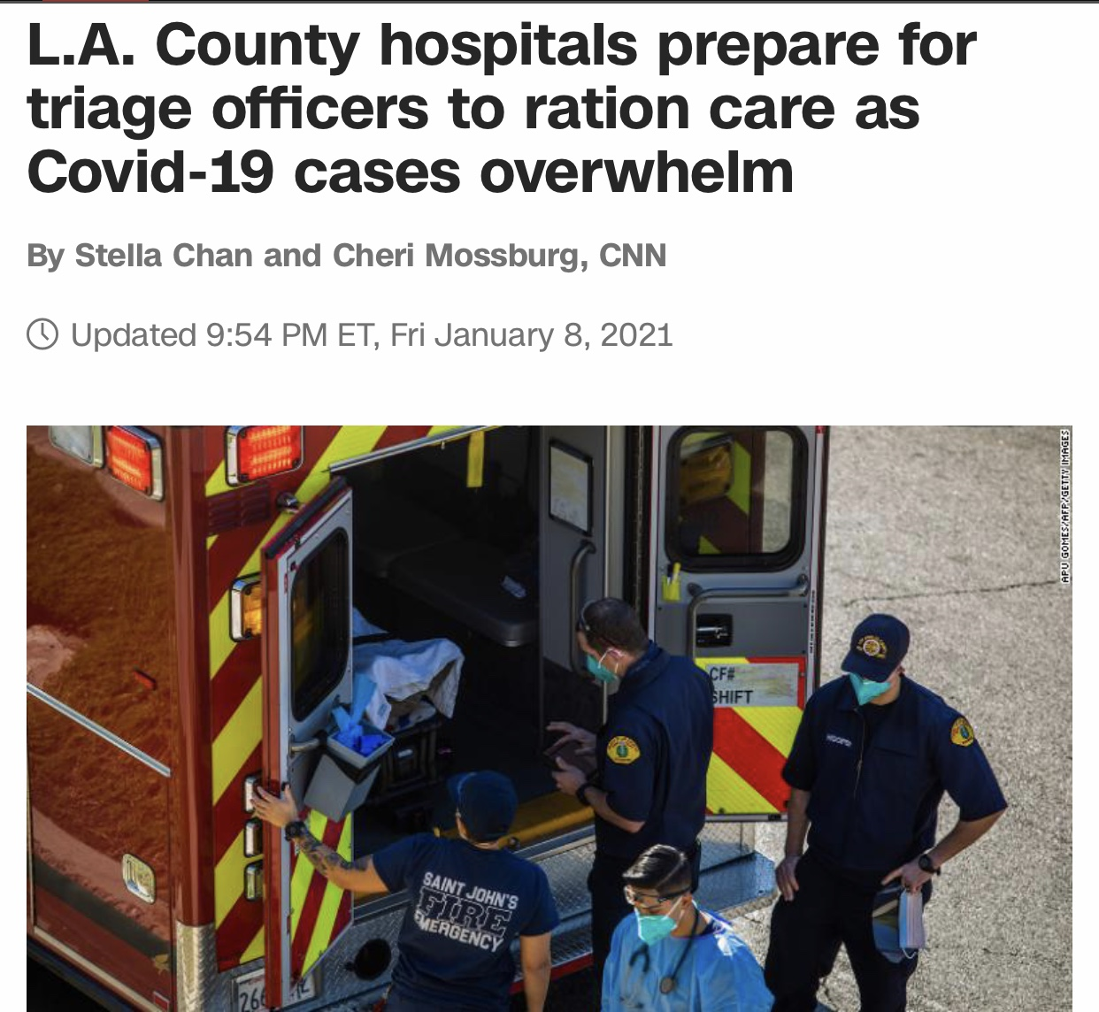 L.A. County hospitals prepare for triage officers to ration care as Covid-19 cases overwhelm