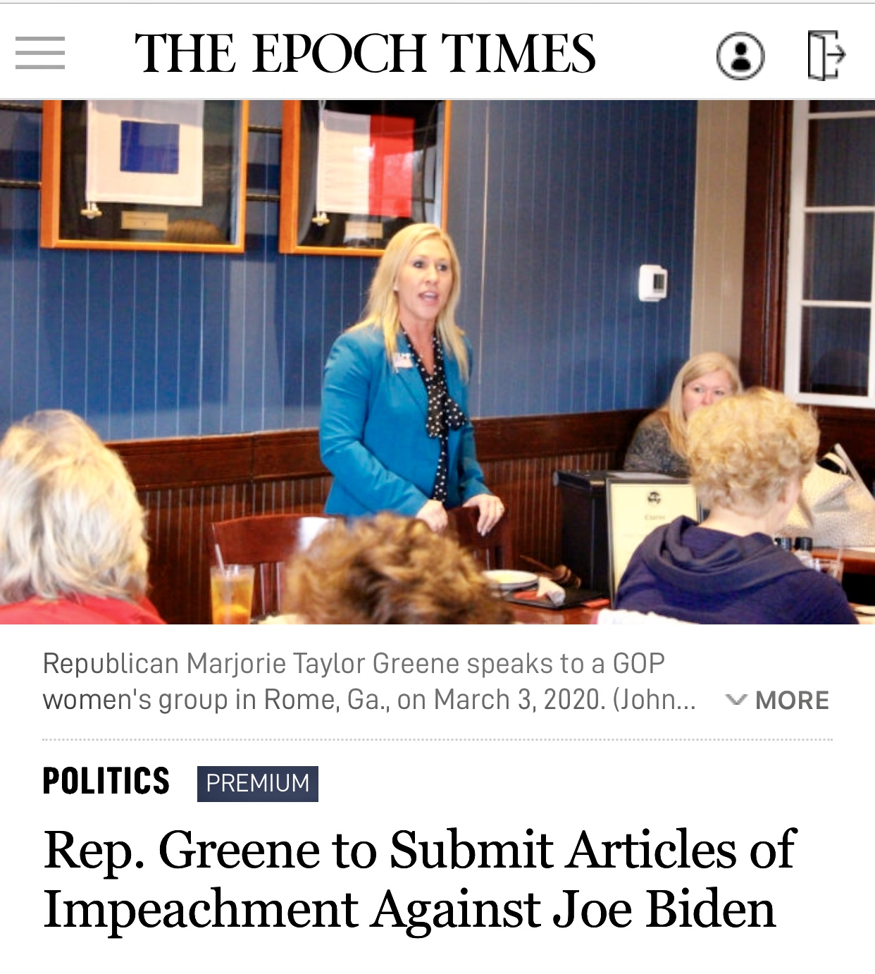 Rep. Greene to Submit Articles of Impeachment Against Joe Biden
