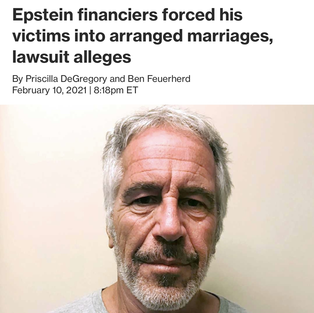 Epstein financiers forced his victims into arranged marriages, lawsuit alleged