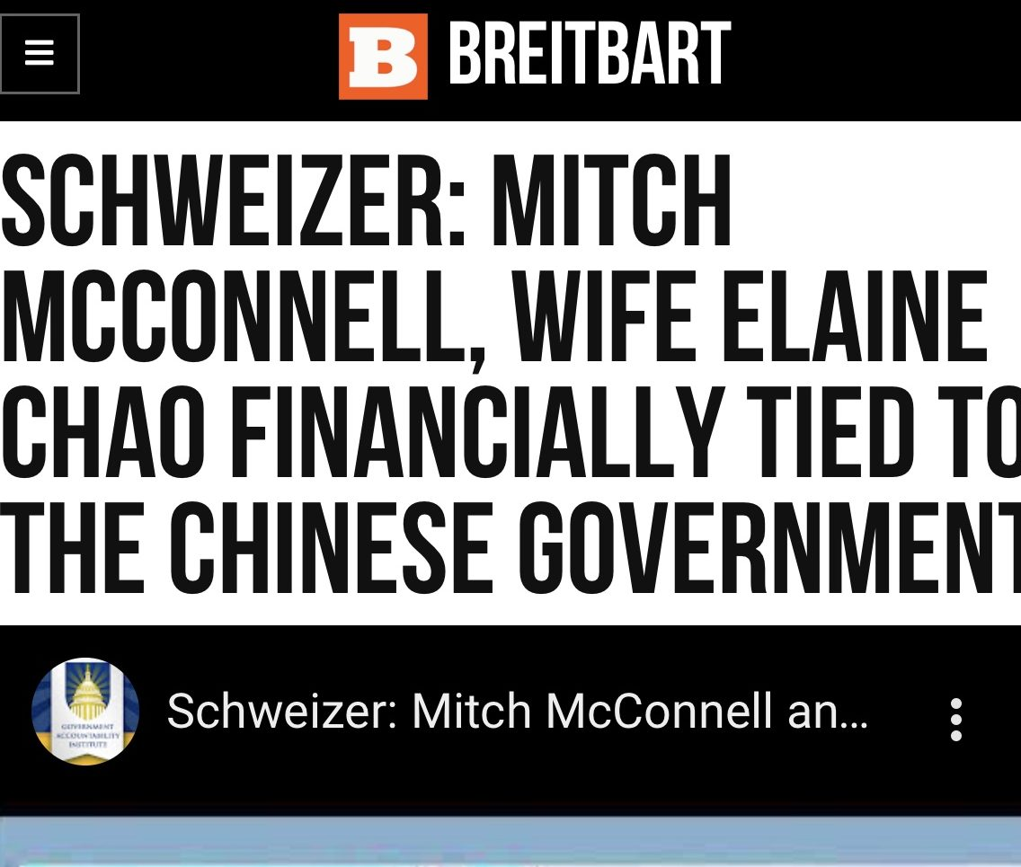 Schweizer: Mitch McConnell, Wife Elaine Chao Financially Tied to the Chinese Government