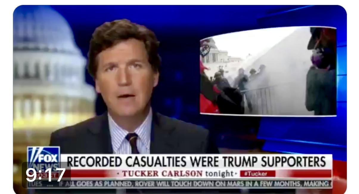 Tucker Carlson's Re: Unanswered Questions on Jan 6th Where Four Trump Supporters Died Including An Officer Who Supported Trump
