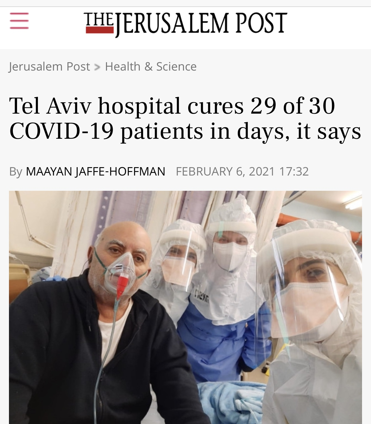 Breaking News Tel Aviv hospital cures 29 of 30 COVID-19 patients in days, it says
