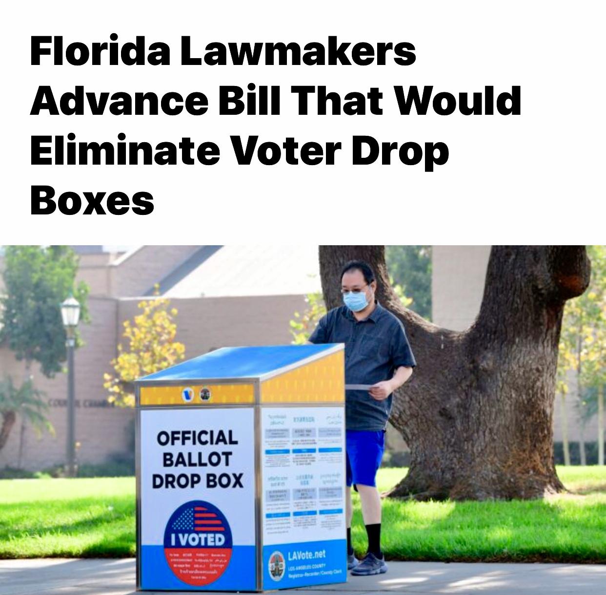 Florida Lawmakers Advance Bill That Would Eliminate Voter Drop Boxes