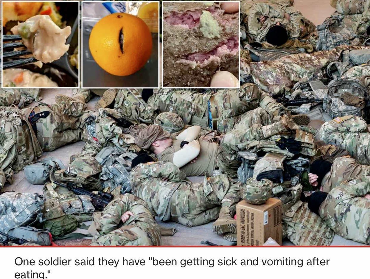 National Guard troops defending Capitol reportedly sick after eating raw meat