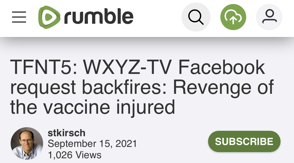 A MUST READ TFNT5: WXYZ-TV Facebook request backfires: Revenge of the vaccine injured VIDEO at bottom