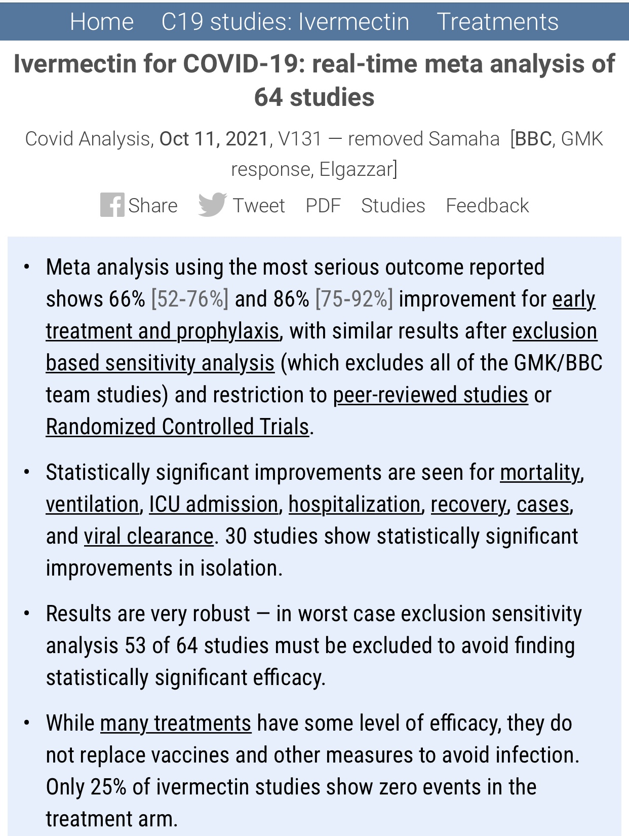 Ivermectin for Covid-19: Real Time Meta Analysis of 64 Studies