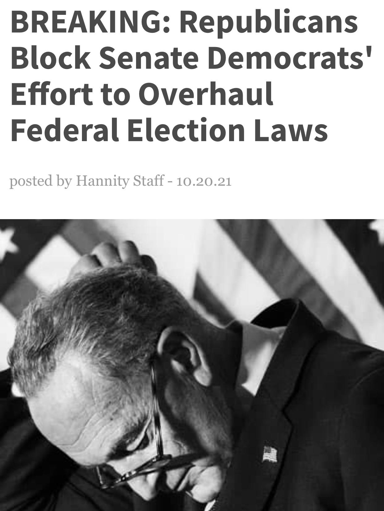 BREAKING: Republicans Block Senate Democrats' Effort to Overhaul Federal Election Laws