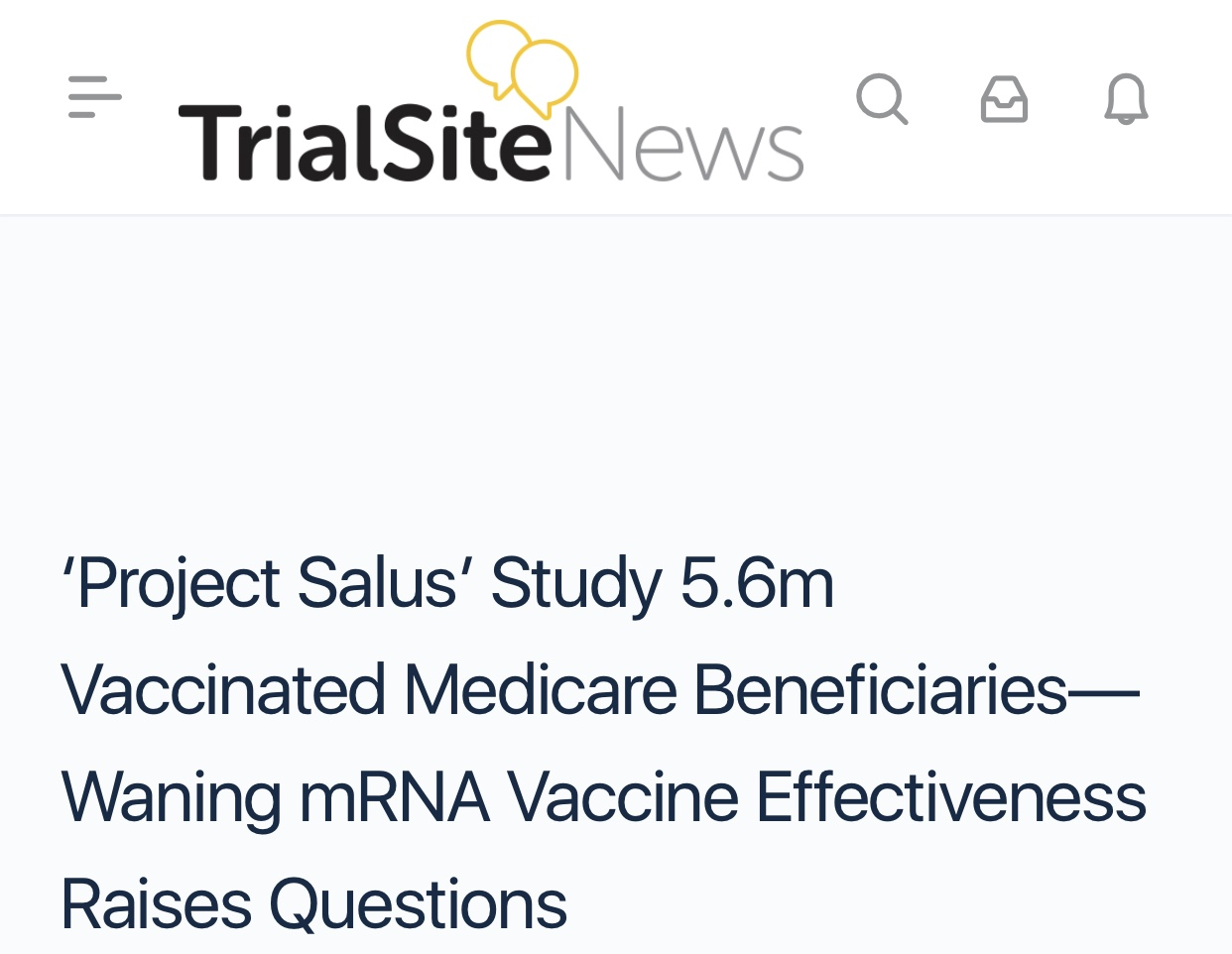 Caution Alert Against Mandated Vaccines 'Project Salus' Study 5.6 Million  Vaccinated Medicare Beneficiaries—Waning mRNA Vaccine Effectiveness Raises Questions